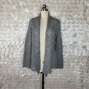 Eileen Fisher Grey Open Knit Cardigan sweater XL